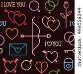 vector seamless pattern... | Shutterstock .eps vector #496526344