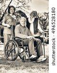 elder people with wheelchair... | Shutterstock . vector #496528180
