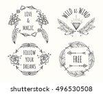 boho tribal native style logo... | Shutterstock .eps vector #496530508