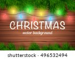 christmas wooden background... | Shutterstock .eps vector #496532494