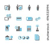 financial blue gray icons... | Shutterstock .eps vector #496533994