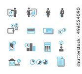 financial blue gray icons... | Shutterstock .eps vector #496534090