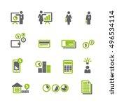 financial green gray icons... | Shutterstock .eps vector #496534114