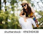 happy loving couple. happy... | Shutterstock . vector #496540438