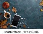 hot coffee in mug and bun ...   Shutterstock . vector #496543606