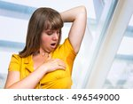 woman with sweating under... | Shutterstock . vector #496549000