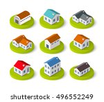 set of isometric 3d icons house ... | Shutterstock .eps vector #496552249