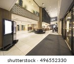 luxury boutique hotel lobby ... | Shutterstock . vector #496552330