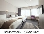 a hotel room  bedroom with... | Shutterstock . vector #496553824