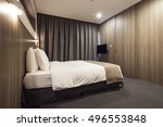 a hotel room  bedroom with twin ... | Shutterstock . vector #496553848