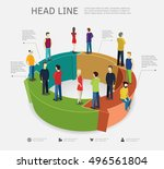 business process concept with... | Shutterstock .eps vector #496561804