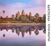 angkor wat temple at dramatic... | Shutterstock . vector #496562698