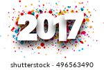 2017 white sign with colour... | Shutterstock .eps vector #496563490