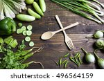 fresh organic vegetables fork... | Shutterstock . vector #496564159