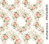 seamless floral pattern with... | Shutterstock .eps vector #496564840