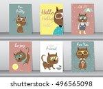 set of cute animals poster... | Shutterstock .eps vector #496565098