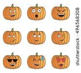 set of halloween pumpkin... | Shutterstock .eps vector #496568308