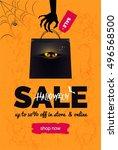 halloween sale black and orange ... | Shutterstock .eps vector #496568500