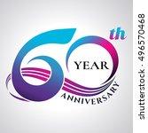 anniversary emblems 60 in... | Shutterstock .eps vector #496570468