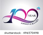 anniversary emblems 100 in... | Shutterstock .eps vector #496570498