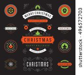 christmas labels and badges... | Shutterstock .eps vector #496572703