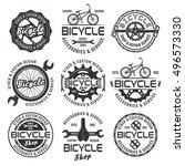 bicycle shop set of vector... | Shutterstock .eps vector #496573330