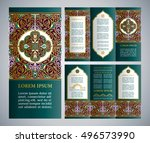 vintage islamic style vector... | Shutterstock .eps vector #496573990
