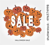 vector halloween sale vector... | Shutterstock .eps vector #496574998