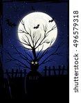 halloween background with... | Shutterstock .eps vector #496579318