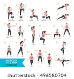 woman workout fitness  aerobic... | Shutterstock .eps vector #496580704