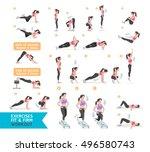 woman workout fitness  aerobic... | Shutterstock .eps vector #496580743