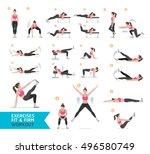 woman workout fitness  aerobic... | Shutterstock .eps vector #496580749