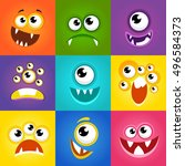 monster expressions. funny... | Shutterstock .eps vector #496584373
