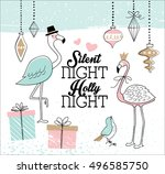 hand drawn christmas card with... | Shutterstock .eps vector #496585750