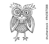 cute owl in black and white | Shutterstock .eps vector #496587088