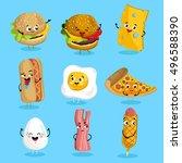 cartoon funny fast foods... | Shutterstock .eps vector #496588390