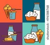 assortment of different dairy... | Shutterstock .eps vector #496588768