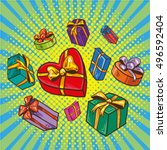 presents and gifts boxes vector ... | Shutterstock .eps vector #496592404