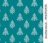 seamless pattern with christmas ... | Shutterstock .eps vector #496593454