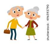happy senior lady and gentleman ... | Shutterstock .eps vector #496593790