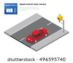 a speed control radar camera.... | Shutterstock .eps vector #496595740