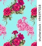 pink flowers pattern watercolor ... | Shutterstock . vector #496597318