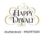 happy diwali. handwritten... | Shutterstock .eps vector #496597600