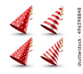 party hat set isolated on a... | Shutterstock .eps vector #496598848