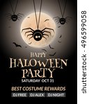 halloween flyer or poster... | Shutterstock .eps vector #496599058
