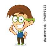 nerd geek giving thumbs up | Shutterstock .eps vector #496599133