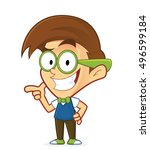 nerd geek with gun finger... | Shutterstock .eps vector #496599184