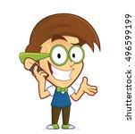 nerd geek talking on cell phone | Shutterstock .eps vector #496599199
