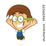 nerd geek jump | Shutterstock .eps vector #496599259
