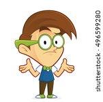 confused nerd geek | Shutterstock .eps vector #496599280